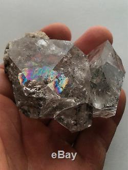 Genuine 73mm NY Herkimer Diamond Quartz Crystal Cluster-Rainbows-Hydrocarbon