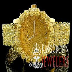 Genuine Diamond Khronos Jojino Jojo Yellow Cluster Bezel Mens Custom Band Watch