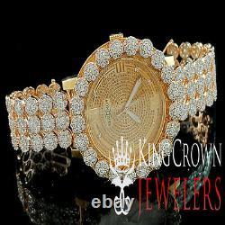 Genuine Diamond Mens Khronos Joe Rodeo Rose Gold Finish Cluster Custom Watch Icy