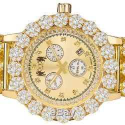 Genuine Diamond Stainless Steel Flower Cluster 55 mm Custom Khronos Watch WithDate