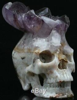 Geode Cluster Amethyst Carved Crystal Skull, Super Realistic, Crystal Healing