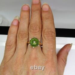Glenn Lehrer Fern Green Quartz & Diamond 9ct Yellow Gold Torus ring U 10 1/4