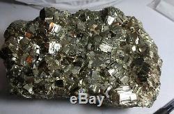 Gorgeous iron pyrite crystal cluster specimen, Peru 12.42lbs. Fools gold! XXL