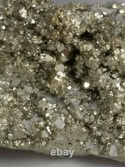 Gorgeous pyrite crystal cluster specimen, Peru 3.88lb! Fools gold! AAA