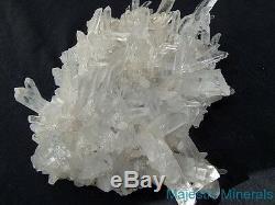 HUGE Arkansas Quartz Crystal Cluster LONG CLEAR POINTED DISPLAY