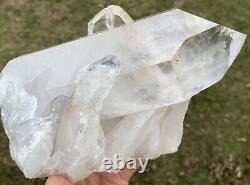 HUGE, Clear Arkansas Quartz Crystal Cluster! Attached Twins & Rainbows