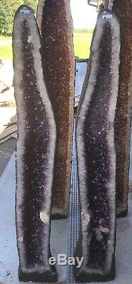 High Gd. 5.6 Ft 420 Lb Brazilian Amethyst Crystal Cathedral Cluster Geode Pair