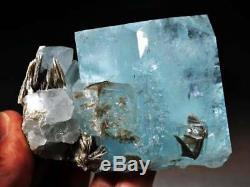 Huge 444 g Gem Aquamarine Crystal Cluster withMica, Nagar, Pakistan! AQ388