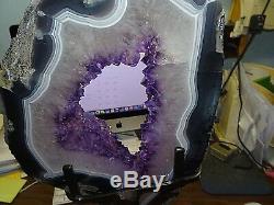 Huge Amethyst Crystal Cluster Cathedral Geode F/ Uruguay Agate Slab Steel Stand