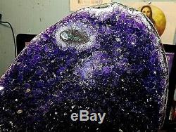 Huge Amethyst Crystal Cluster Cathedral Geode Uruguay Stalactite Base Polished