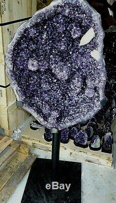 Huge Amethyst Crystal Cluster Geode Cathedral Cone F/ Brazil Stand Stalactites