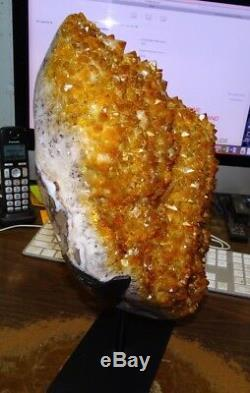 Huge Polished Citrine Crystal Cluster Geode From Brazil Cathedral W' Steelstd