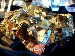 Huge Pyrite Crystal Cluster, Beautiful Hi Luster Gold Pyrite, Peru