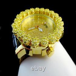 Iced Real Diamond Mens Khronos Joe Rodeo Yellow Gold Finish Cluster Bezel Watch