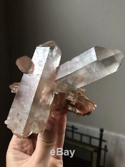 Iron Quartz Cluster Inclusion Quartz Crystal Brazil Quartz Point Orange Quartz