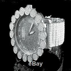Khronos Men's Real Diamonds Joe Rodeo White Gold Tone Clear Cluster Bezel Watch
