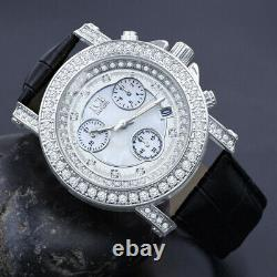 Khronos White Gold Tone Real Diamond Joe Rodeo Cluster Bezel Iced Watch With Date