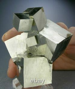LARGE 6-CUBE GOLDEN PYRITE CRYSTAL CLUSTER FROM SPAIN w VIDEO, GLOBE MINERALS