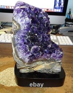 LARGE AMETHYST CRYSTAL CLUSTER CATHEDRAL GEODE FROM URUGUAY With POLISHED RIM