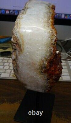LARGE CITRINE CRYSTAL CLUSTER CATHEDRAL GEODE BRAZIL With STEEL STAND