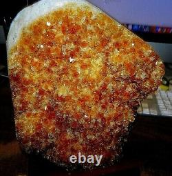 LARGE CITRINE CRYSTAL CLUSTER CATHEDRAL GEODE BRAZIL With WOOD STAND POLISHED