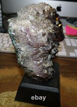 LG. METALIZED AMETHYST CRYSTAL CLUSTER GEODE FROM BRAZIL CATHEDRAL With WOOD BASE