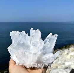 Large 2.67 Lbs 5.6x 4.7x4.3 Clear Quartz Cluster Natural Healing Energy