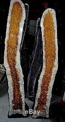 Large 69 In. Brazilian Citrine Crystal Cathedral Cluster Geode Rt. Half Only