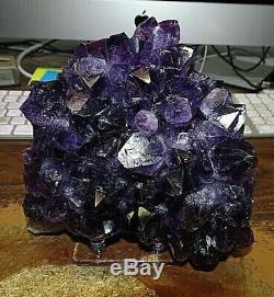 Large Amethyst Crystal Cluster Geode Brazil Cathedral Acrylic Stand Museum Gd