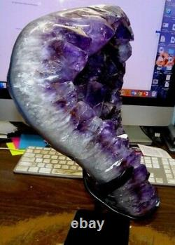 Large Amethyst Crystal Cluster Geode Brazil Cathedral Steel Stand Museum Grade