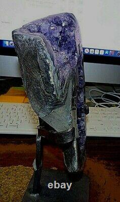 Large Amethyst Crystal Cluster Geode From Uruguay Cathedral Agate Swirls