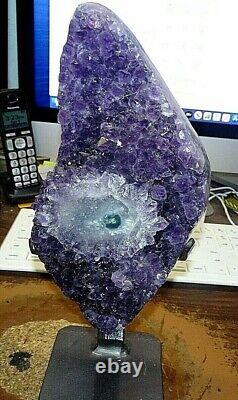 Large Amethyst Crystal Cluster Geode From Uruguay Cathedral Stalactite Base