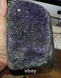 Large Amethyst Crystal Cluster Geode From Uruguay Cathedral Stand Polished