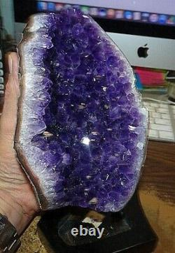 Large Amethyst Crystal Cluster Geode From Uruguay Cathedral Wood Stand