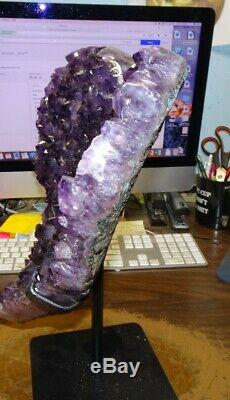 Large Amethyst Crystal Cluster Heart Geode F/ Brazil Cathedral Steel Stand