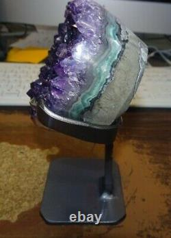 Large Amethyst Crystal Cluster Heart Geode F/ Uruguay Cathedral Steel Stand