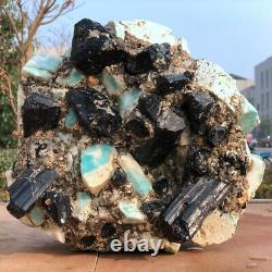 Large Black Tourmaline Amazonite Quartz Crystal Cluster Mineral Specimen Healing