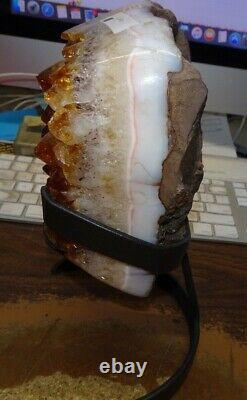 Large Citrine Crystal Cluster Geode Brazil Cathedral Steel Stand