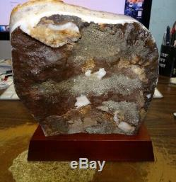 Large Citrine Crystal Cluster Geode Brazil Cathedral Wood Stand
