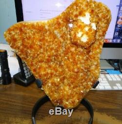 Large Citrine Crystal Cluster Geode From Brazil Cathedral Steel Stand