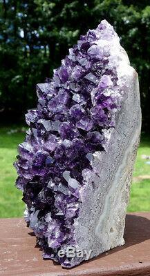 Large Dark Uruguayan Uruguay Amethyst Crystal Cluster w Cut Base