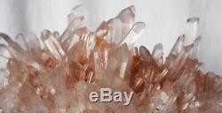 Large Natural smokey rose gold quartz cluster crystal specimen healing US Seller