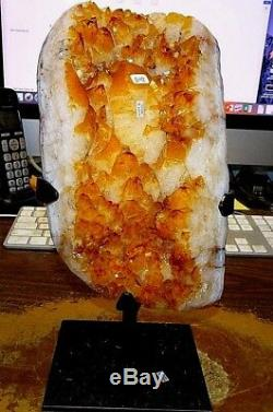 Large Polished Citrine Crystal Cluster Geode From Brazil Cathedral W' Stand