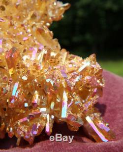 Large Sunset Aura Quartz Crystal Cluster