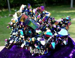 Large Titanium Rainbow / Flame Aura Quartz Crystal Cluster