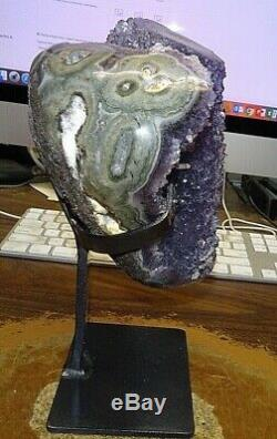 Large Uruguayan Amethyst Crystal Cluster Geode Cathedral With Steel Stand