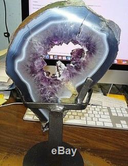 Lg Amethyst Crystal Cluster Cathedral Geode F/ Uruguay Agate Slab Steel Stand