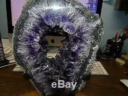 Lg. Amethyst Crystal Cluster Cathedral Geode F/ Uruguay Agate Slab Steel Stand