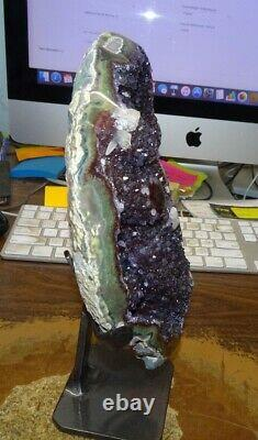 Lg. Amethyst Crystal Cluster Geode Uruguay Cathedral Stalactite Bases Calcite