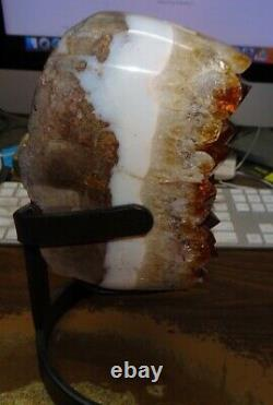 Lg. Citrine Crystal Cluster Geode F/ Brazil Cathedral Steel Stand White Agate Ri